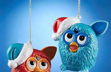 Furry Toy Ornaments - The Furby Blue and Red Figural Blow Mold Ornament Set Will Delight Fans