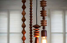Wood Bead Pendant Lights