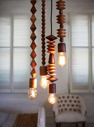 Wood Bead Pendant Lights