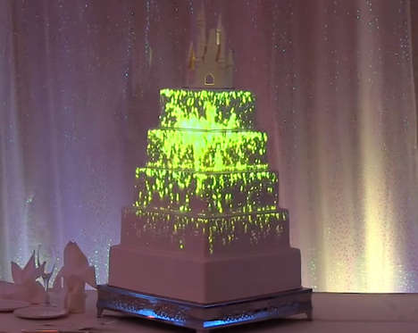 Magical Projection-Mapped Cakes - This Customizable Disney Wedding Cake Features a Flying Tinkerbell