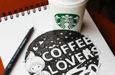 Cup-Incorporating Illustrations (UPDATE) - These Starbucks Cup Doodles Go Off the Page and Onto Cups