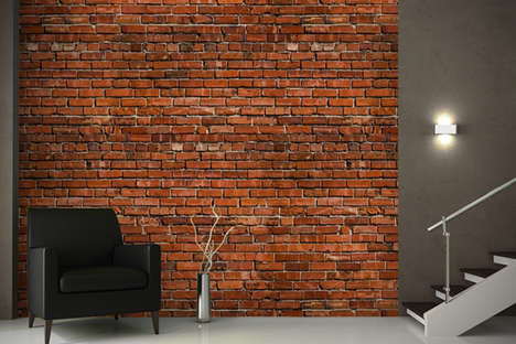 Faux Brick Decals - This Brick Effect Wallpaper Helps Give the Illusion of a Rustic Interior Space