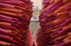 Pool Noodle Passageways - Les Astronautes Update Your Walk Home with a New Live-Art Installation