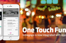 Crowdfunding OneTouch Payment Systems - The Indiegogo Apple Pay Platform Makes Monetary Support Easy