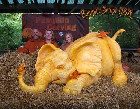 Elephantine Pumpkin Carvings - This Giant Pumpkin Carving Raises Awareness About African Elephants