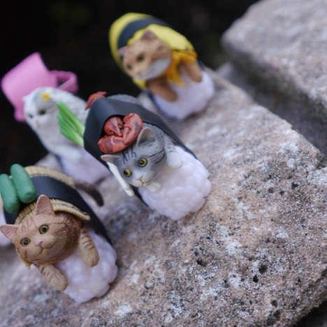 Feline Seafood Figurines