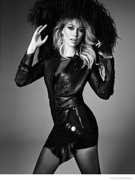 Grayscale Pop Star Editorials - Hilary Duff is All Grown Up in the Latest Issue of ELLE Canada