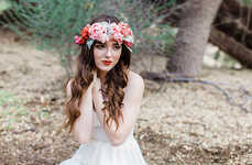 Bohemian Bridal Accessories - This Silk Flower Crown is a Feminine Accent on One's Big Day