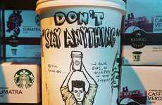 Caffeine Addiction Illustrations - Josh Hara's Coffee Cup Artwork Reflects Aspects of Pop Culture