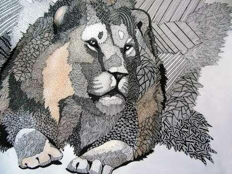 Jungle-Themed Gel Pen Illustrations