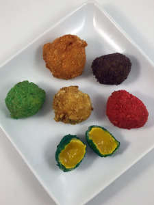 Cereal-Encrusted Eggs - Dude Foods Created Deep Fried Fruit Loops-Breaded Sous Vide Egg Yolks