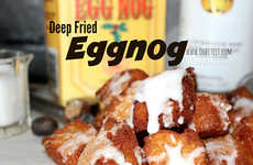 Festive Fried Booze Bites - These Deep Fried Eggnog Bites are Glazed with Rum for a Lively Christmas