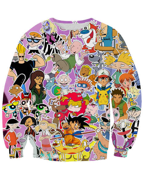 90s Cult Cartoon Apparel - This Printed Novelty Sweater Celebrates Nostalgic Animated Classics