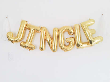 Typographic Holiday Balloons