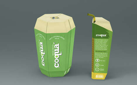 Coconut Slice Juiceboxes - This Beverage Packaging Concept Mimics the Shape of a Coconut