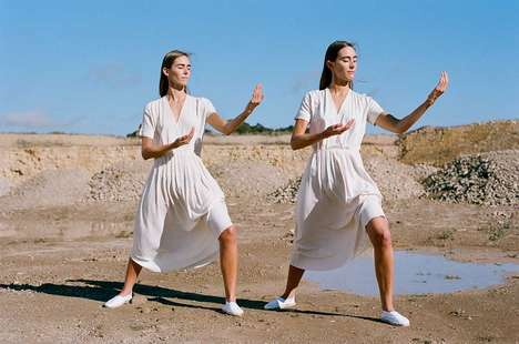 Tailored Tai Chi Lookbooks - The Paloma Wool Advertisements Showcases Martial Arts Movements