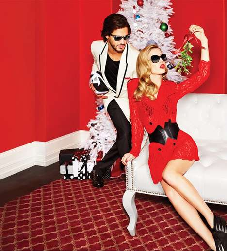 The Sunglass Hut Holiday Advertisements Display Festive Sets