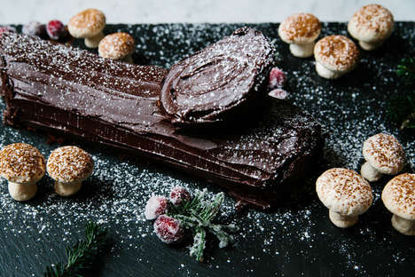 Wood-shaped Christmas Cakes
