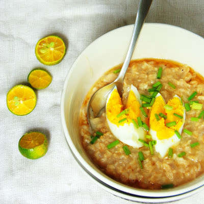 Savory Asian Breakfasts - This Oatmeal Recipe Favors Ginger, Garlic, Fish Sauce and Eggs
