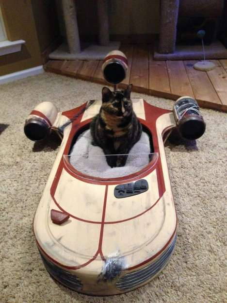 Sci-Fi Feline Beds - The Star Wars Landspeeder Cat Bed Offers Felines a Cozy Resting Place