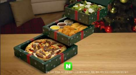 Festive Pizza Packaging - Pizza Hut Korea's Christmas Pizza Boxes Are Presented Like Wrapped Gifts