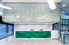 Illusory Aqueous Desks - The EMKE Office Reception Features a Whimsical Watery Bureau
