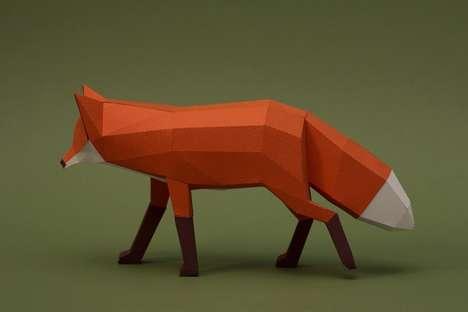 Paper-Made Wildlife Sculptures