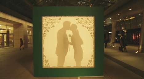 Silhouetted Kissing Booths - This Fun Kissing Booth by DENTISTE' Ecourages Affection in Public