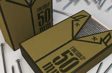 Coated Hardware Cartons - Uniformed Nail Packaging Personifies the Strength of Construction Material
