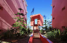 Blushing Apartment Blocks - The Redline Apartment Block Stands Out with Its Rosy Hue