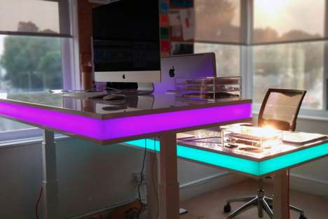 LED Standing Desks - The Height of TableAir is Controlled By Way of Motion Sensors