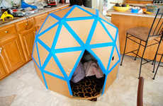 Playful Geometric Domes - This DIY Cardboard Playhouse Provides Inexpensive Playtime for Children