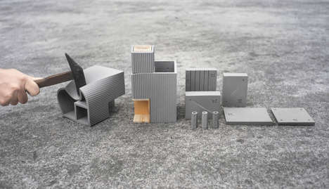 Concrete-Like Desk Accessories - The Tiny City Collection by TripleLiving is Deceptively Malleable