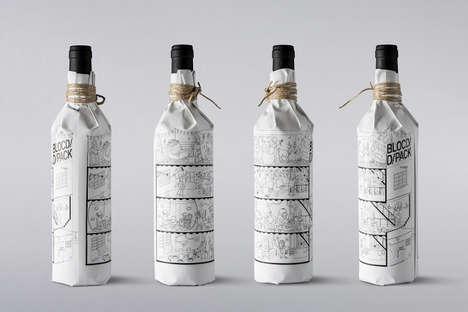Illustrated Wine Bottle Wraps