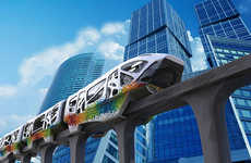 Psychedelic Single-Track Transport - A Colorful Monorail Concept Has a Spectral and Abstract Design