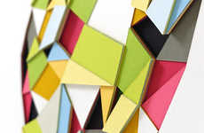 Polygonal Paper Art Sculptures - Huntz Liu's Geometric Art is Reminiscent of Stained Glass Windows