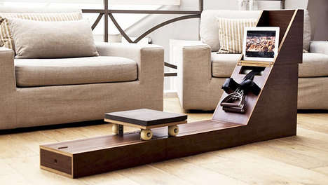 Sporty Transforming Furniture - Side Table Rowing Machine Furnishes the Home and Facilitates Fitness