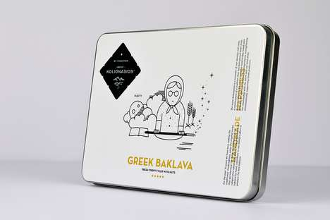 Familial Pastry Packaging - Kolionasios Baklava Has a Cartoony Look That Appeals to Young and Old