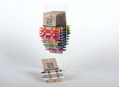 Plaited Paper Packaging - Hybrid Crayon Candles are Tucked into Slots and Folds a an Eco Container