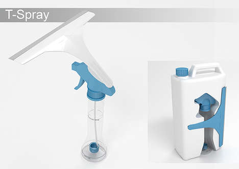 Combo Cleaner Packaging - Nested Detergent Bottle Integrates a Sprayer, a Squeegee and a Container