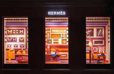 Surreal Retail Display Museums - This Hermes Window Display is Made Using a Colorful Paper Medium