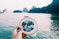 Embroidered Tourist Scenes - Artist Teresa Lim Creates Hand-Sewn Postcards of Places She's Been