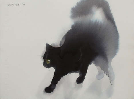 Watercolor Cat Paintings - Artist Endre Penovac Creates Ghostly Images of Furry Felines