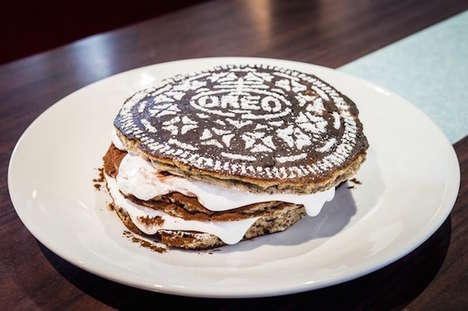 Cookie-Inspired Pancakes - The Diner's Oreo Cookie Cake Stack Contains Gooey Marshmallow Layers