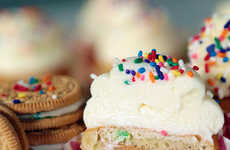 Cookie-Stuffed Cupcakes - This Funfetti Cupcake Recipe has a Hidden Oreo Surprise Hidden Inside