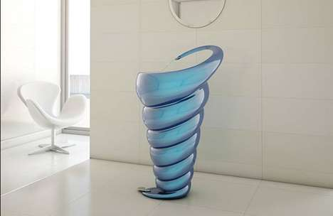 Sculptural Spiral Sinks - This Swirling Washbasin Assumes the Organic Shape of a Conch Shell