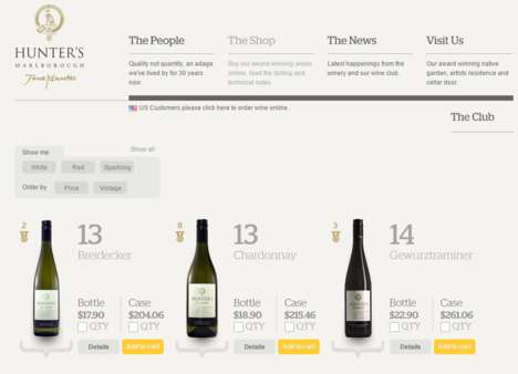 Online Wine Shops - Hunter's Wines Creates a Stylishly Informative Purchasing Page