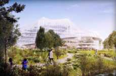 Glass Greenhouse-Style Buildings - Google Campus in Mountain View is Inspired by Its Surroundings