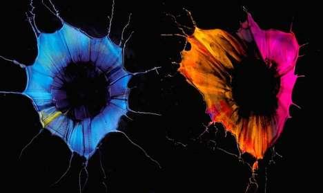 Paint-Splattered Flower Depictions