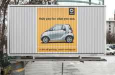 Small Size Billboards - Smart Car's Rotating Billboard Ads Highlight Savings on Cost and Space